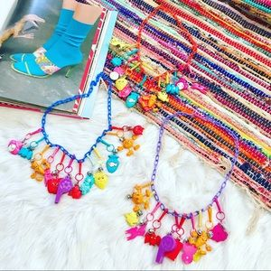 Vintage 80's Plastic Bell Charm Colorful Necklace